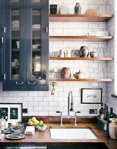 Eclectic kitchen design with gray cabinets and open shelving on Thou Swell @thouswellblog Kitchen Cabinets, Home Decor, Kitchen Cabinetry, Homemade Home Decor, Kitchen Base Cabinets, Interior Design, Decoration Home, Home Interiors, Dressers