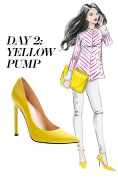 Punch up a striped blouse and skinny jeans combo with an oversize clutch and matching pumps. Shop the pumps trend at Nordstrom.com   - MarieClaire.com