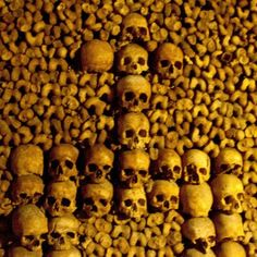 The catacombs under Rome have served as the final resting place for a long time, the skulls and bones are stacked,  as shown. The catacombs are a very popular place for tourist to Rome.
