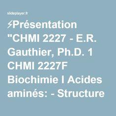 """⚡Présentation """"CHMI 2227 - E.R. Gauthier, Ph.D. 1 CHMI 2227F Biochimie I Acides aminés: - Structure - Propriétés chimiques générales."""""""