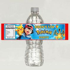Digital file - Pokemon Personalized water bottle birthday label | Mary_Party_Supply - Paper/Books on ArtFire
