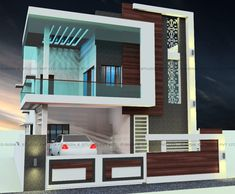 Residential design & development for ms.jannath bee mohammed khan modern houses by d-sign kstudio™ pvt ltd architects + interiors + landscaping modern Bungalow House Design, House Front Design, Small House Design, Modern House Design, Modern Houses, Residential Building Plan, Home Building Design, Home Design Plans, Architecture Visualization