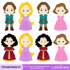 Princess Digital Clipart Princess Clipart Rapunzel por Cutesiness