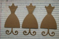 3 Unfinished chipboard die cuts Dress Form Style no. by studioCee, $1.20