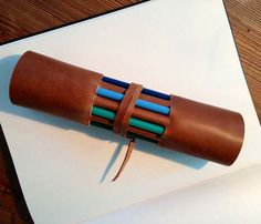 Clever Leather Pencil Roll: slots for pencils reveal spectrum on opposite side