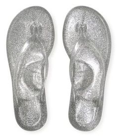 97ac690fa84 Aeropostale silver glitter flip-flops