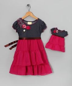 Take a look at this Dollie & Me Gray & Pink Tiered Dress & Doll Outfit - Girls by Two of a Kind: Apparel & Dolls on #zulily today!