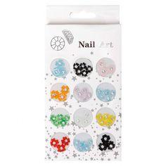 48pc Multicolored 3D Acrylic Rhinestone Clover Flowers Nail Art Set, $3.99