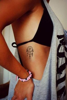 Small Boho Dreamcatcher Rib Tattoo Ideas for Women - pequeñas ideas de tatuajes para chicas - www.MyBodiArt.com