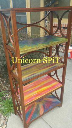 Bookcase  Unicorn SPiT   #woodstain #nontoxicart #refinished #Repurpose #gelstain #glaze #paintedfurniture #diy #gypsy #outofthebox #boho #restore #RECYCLE Funky Painted Furniture, Colorful Furniture, Upcycled Furniture, Home Decor Furniture, Furniture Makeover, Hippie House, Hippie Home Decor, Dresser Remodel, Unicorn Spit Stain