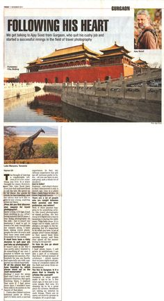 The Times of India carried my interview on my passion - Travel Photography. Here's the article (you could also read / download it from http://www.facebook.com/photo.php?fbid=184926938258082&set=a.177530975664345.45908.149664658450977&type=3 ).