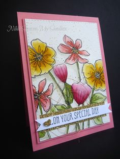 floral watercolour card using Stampin Up Penned & Painted & Bunch of Blossoms stamp sets from 2016-17 annual catalogue. My Sandbox: Just Add Ink #317....Colour!