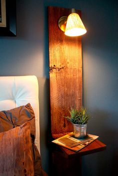 Plank-nightstand - the trick is to find a wooden plank with character. The top of the nightstand is mostly for decoration, except that it makes sure that there is something to screw the bedside lamp on to.