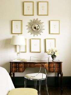 Alison Womack Jowers - Absolutely gorgeous office den design with soft butter yellow walls paint color, acrylic lucite art deco chair with yellow cushion, antique desk, crystal lamp, wood sunburst mirror and gold leaf art gallery. Home Office, Office Den, Deco Baroque, Lucite Chairs, Lucite Desk, Greige, Acrylic Chair, Antique Desk, Antique Furniture
