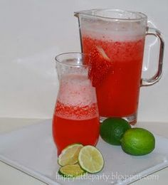 There are only a few ingredients in this beautiful recipe, most of which are probably already in your kitchen. Ingredients: 1 can limeade 3/4 lb Strawberries 1/2 c sugar 3 C water approx 2 c. ice