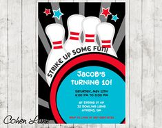 Bowling Party Personalised Photo Party Invitations x10 BowlB1