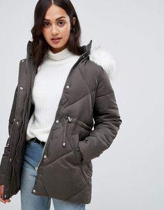 c51fd642be9e4 New Look faux fur trim quilted coat at asos.com