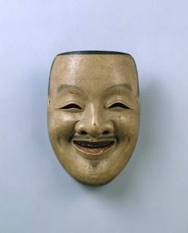 Noh mask, Ebisu, one of 47 Noh masks formerly owned by Konparu Sōke (the leading family of the Konparu school), Wood, colored Muromachi-Meiji period/15-19th century Originally owned by Konparu-za Tokyo National Museum.