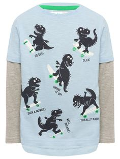 M&Co. Boys Dino skateboard mock sleeve top