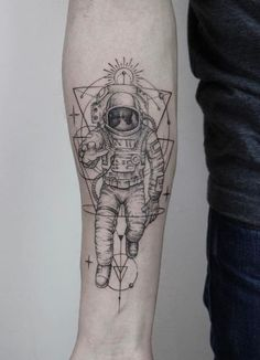 Stunning Astronaut Tattoo #AwesomeTattooDesignsAndIdeas