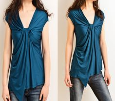 Phalaenopsis  - asymmetrical draping T-shirt (Y5109)