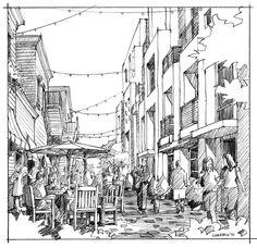 Pencil Sketch | WHA Rendering Studio | Long Beach Broadway & Elm | Los Angeles, CA