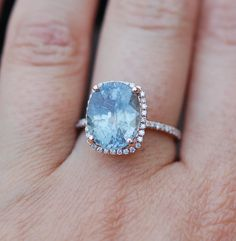 Rose Gold Engagement Ring 6.2ct Teal Blue Green by EidelPrecious