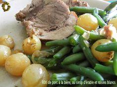 Rôti de porc à la bière, au sirop d'érable et raisins blancs