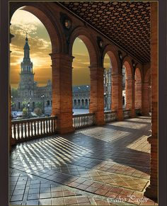 Atardecer en Sevilla, Spain. built in 1928 for the Ibero-American Exposition of 1929. It is a landmark example of the Renaissance Revival style in Spanish architecture