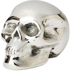 Jan Barboglio Santo Catarino Skull Paperweight (£155) ❤ liked on Polyvore featuring home, home decor, office accessories, nickel and jan barboglio