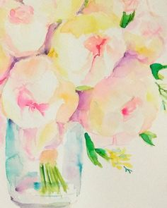 Check out this item in my Etsy shop https://www.etsy.com/listing/499681131/bridal-bouquet-roses-original-watercolor