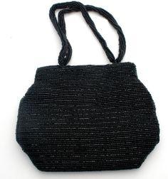 Black Purse Beaded HandBag Vintage Fashion by TheJewelryLadysStore