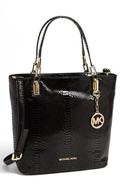 $358, Black Leather Tote Bag: MICHAEL Michael Kors Michl Michl Kors Brooke Medium Leather Tote Black. Sold by Nordstrom. Click for more info: https://lookastic.com/women/shop_items/138279/redirect