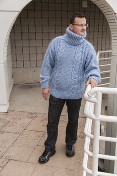 Hand Knitted Blue Mohair/Angora Cabled Turtleneck Unisex Sweater Size L #Unbranded #TurtleneckMock #Work