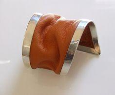 asymmetrical orange leather sterling silver bracelet by evasugar, $165.00