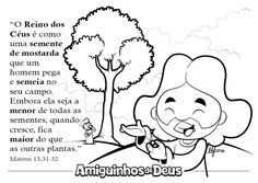Parábola do grão de mostarda desenho para colorir 35, Snoopy, Fictional Characters, Coloring, Mustard Seed, Parable Of The Seeds, Children Ministry, Kids Bible Activities, Flowers