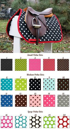 How could I not want this? -- MADE TO ORDER Polka Dot Saddle Pad Many Colors by PaddedPonies, $68.00