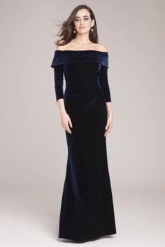 Teri Jon by Rickie Freeman Navy Stretch Velvet Ruched Gown