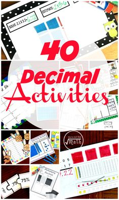 Your children will love these engaging decimal activities. They are designed to strengthen students understanding of decimals as they add, subtract, multiply, and divide them. Teaching Decimals, Dividing Fractions, Multiplying Fractions, Equivalent Fractions, Math Multiplication, Math Math, Division Math Games, Addition And Subtraction Worksheets, Math Graphic Organizers