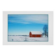 Beautiful Winter Farm Poster