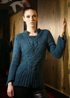 Free Knitting Patterns for a Cable Stitch Fitted Sweater. Beautiful intricate cabled ladies sweater pattern to knit. Sweater Knitting Patterns, Knitting Designs, Knit Patterns, Stitch Fit, Cable Sweater, Vintage Knitting, Free Knitting, Pulls, Knitwear