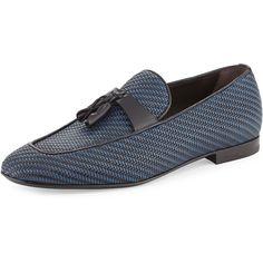 61bae9ed540 Ermenegildo Zegna Lido Bicolor Woven Leather Tassel Loafer (50.580 RUB) ❤  liked on Polyvore