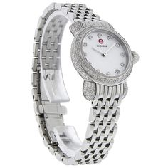 MICHELE LADIES CSX PETITE DIAMOND SWISS QUARTZ WATCH  - Polished Stainless Steel Case & Bracelet - Mother Of Pearl Dial  - Silver Tone Hour & Minute Hands  - Geuine Diamond Hour Markers  - Genuine Diamonds set on Bezel & Case