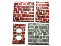 Red Brick hand painted double light switch plate - wall - switch cover faceplate - stone - pinned by pin4etsy.com