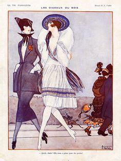 """Armand Vallée illustration for La Vie Parisienne 1921 """"Les Oiseaux du Bois"""" (Bois De Boulogne) (hva)"""