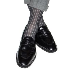 Black with Ash Vertical Stripe Sock Linked Toe Mid-Calf
