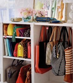 like the idea of hooks and shelves in the closet for purses