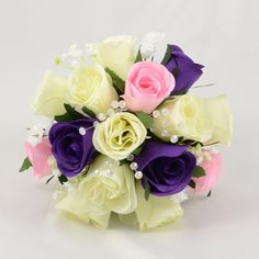 Purple, Baby Pink & Ivory Rose Bridesmaids Posy