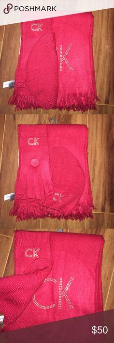 Calvin Klein Red 3 piece Hat, Gloves, Scarf Set NWT Ladies Calvin Klein Ladies Winter Set Calvin Klein Accessories Gloves & Mittens