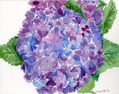 Hydrangeas Watercolors Paintings original, Blue and Purple floral art, original flowers painting, original watercolor painting of hydrangeas by SharonFosterArt on Etsy